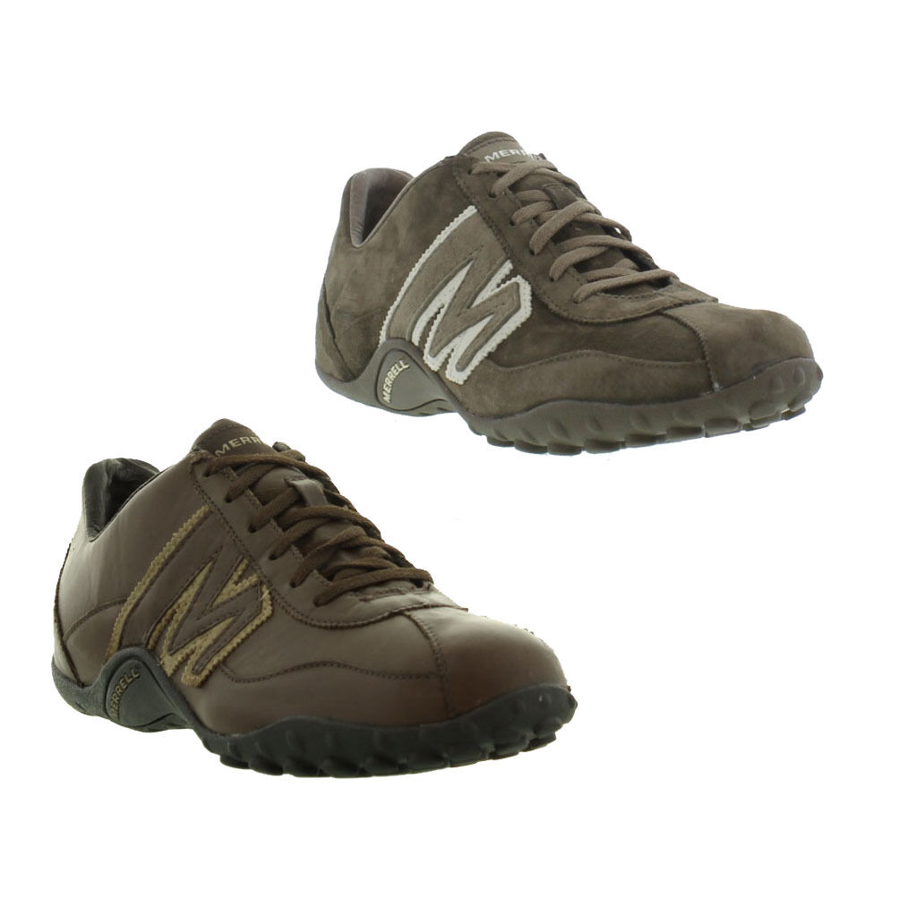 Merrell Sprint Blast Mens Grey Brown Leather Walking Shoes Trainers Size 8-14