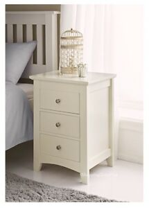 High Quality Elegant Cream Solid Wooden 3 Drawer Bed Side