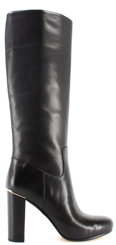Women's Shoe MICHAEL KORS Janice Boots Calf Leather 40F7JCHB5L Black Heel New