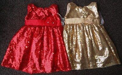 Baby Ragazze Battesimo Festa Paillettes Natale Oro Rosso Matrimonio Pageant Dress New- Prezzo Moderato