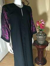 Fancy Khaleeji Abaya Arabic Embilished Half Open Jilbab Dubai Made Size 56 M