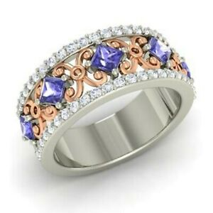 1-31-Ct-Real-Tanzanite-Diamond-Wedding-Eternity-Band-Ring-14K-White-Gold-Size-6