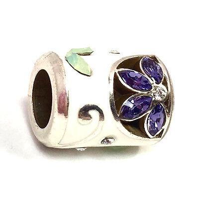 Authentic Brighton Giardino Bead Purple New Silver // White Enamel J9750B