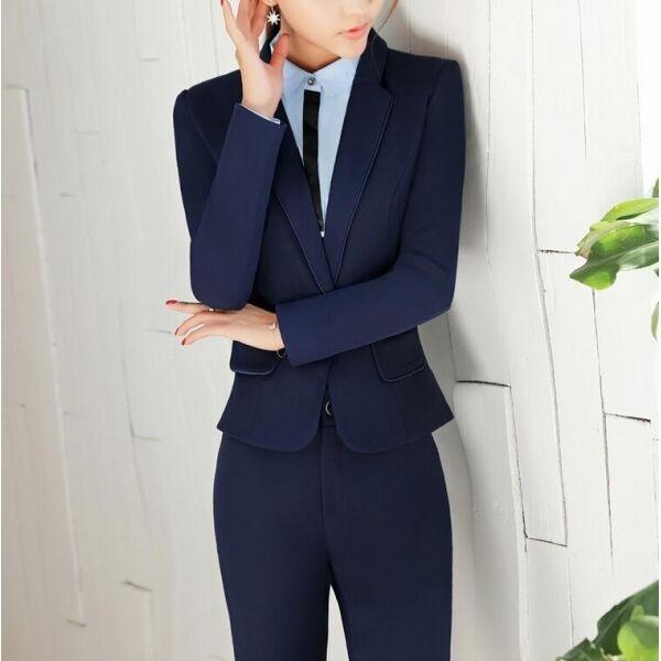 Elegante Dimensioneur completo donna blu blu blu scuro giacca manica lunga pantaloni w9039 36d276