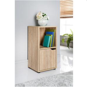 Oak-2-Cube-Bookcase-Shelving-Unit-1-Door-Display-Cabinet-Wood-Furniture