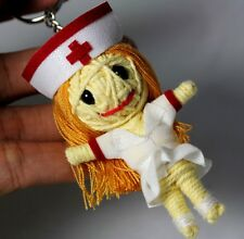 Nurse Voodoo Keychain Keyring String Doll Handcraft Handmade Toy White Fabric