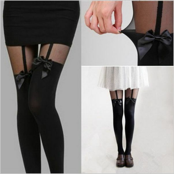 Vintage Sexy Cute Stockings Pantyhose Tattoo Mock Bow Suspender Sheer Tights