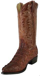 Men-039-s-Leather-Crocodile-Ostrich-Design-Rodeo-Western-Cowboy-Boots-J-Toe-Cognac