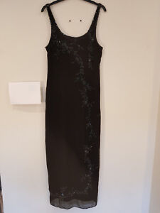 EB-01-DEBUT-Evening-Maxi-Dress-Black-Beaded-Sequins-Cruise-Party-Size-12-VGC