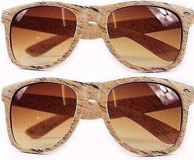 2 Paia Di Occhiali Da Sole Unisex In Legno Look Effetto Venature Marrone Protezione Uv400-mostra Il Titolo Originale