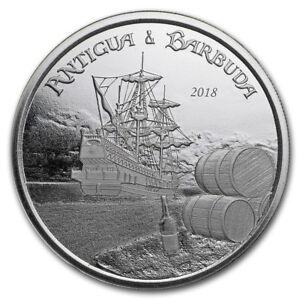 2-Dolar-EC8-Eastern-Caribe-8-Ron-Runner-Antigua-amp-Barbuda-1oz-Plata-2018