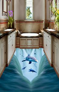 3D Jump delfín océano 9 Papel de parojo de Piso Impresión De Parojo Murales AJ Wallpaper Reino Unido Limón