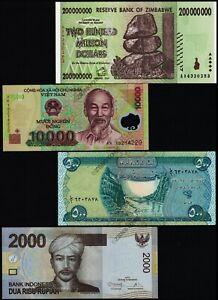 500-Iraq-Dinar-200-Million-Zimbabwe-Dollars-10000-Vietnam-Dong-2000-Indonesia