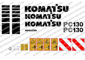 Belle Komatsu Pc130 Digger Decal Sticker Set-afficher Le Titre D'origine Excellente Qualité
