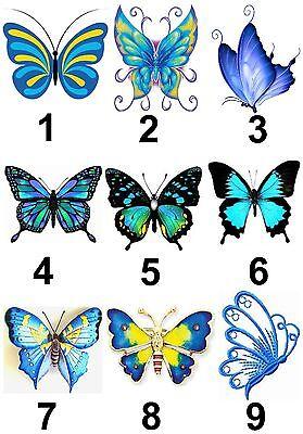 Blau Schmetterling Klein Oder Groß Klebend Weißes Papier Aufkleber Etiketten Neu