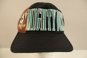 Vtg-Anaheim-Mighty-Ducks-NHL-Starter-Snapback-Hat-Hockey-Cap-Spellout-Tri-Power