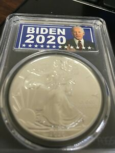 """2020 """"BIDEN""""  SILVER EAGLE GRADED BY THE PCGS AS AN """"MS 70""""  A """"TOP POP""""!"""