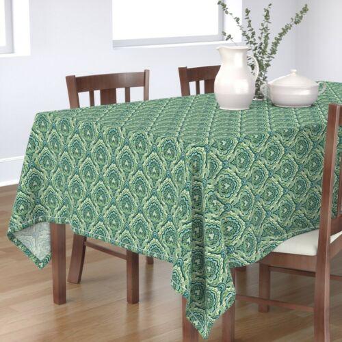 Tablecloth Paisley Green Paisley Emerald Teal Damask Cotton Sateen