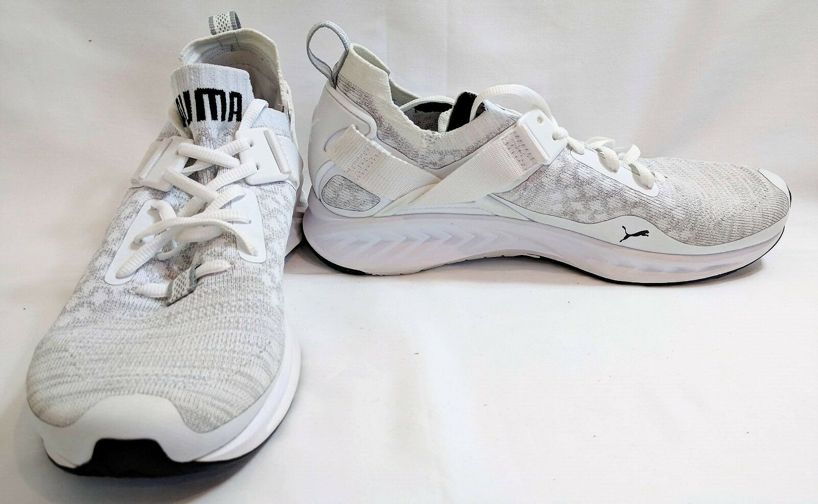 Puma Men's Ignite Evoknit Cross Low Cross-Trainer Shoes- White/Grey- US 9.5,US11