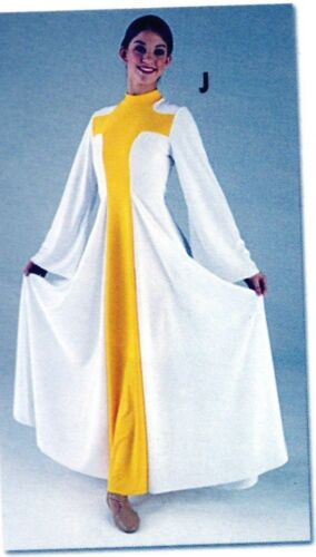 NWT PRAISE DRESS LITURGICAL DANCE Renaissance Crepe White w GoldCross Girls Szs