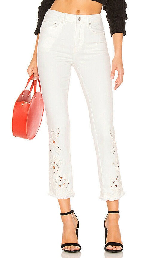 Free People Womens Cutwork Cigarette OB769722 Jeans White Size 26W