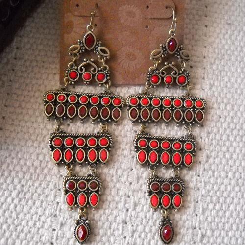 Boucles d/'Oreilles Rouges Chandelier Bohême  Super Chic Cadeau Elegant BB 8