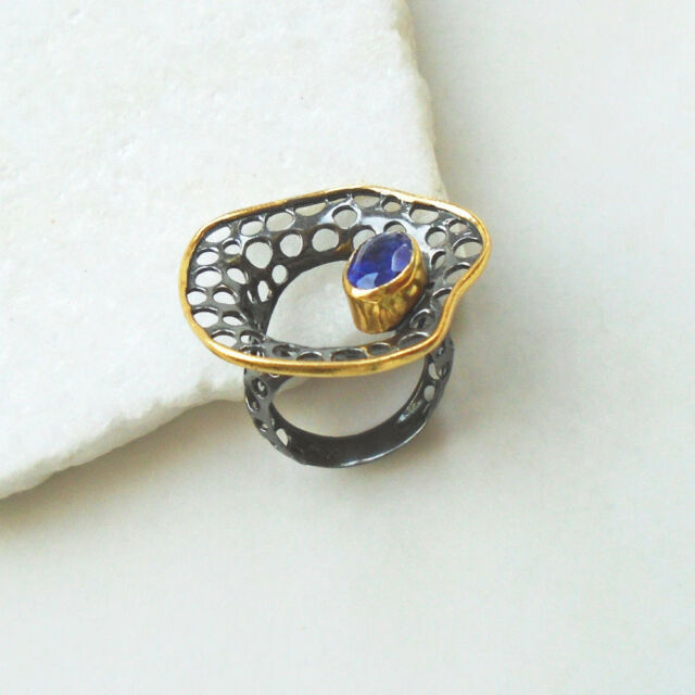 Iolith blau gold schwarz rhodiniert Ring Ø 17,5  18,0 mm 925 Sterling Silber neu