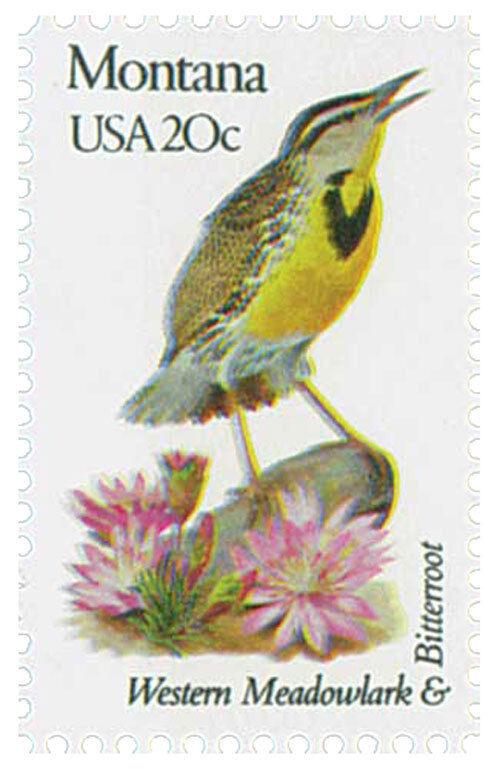 1982 20c State Birds & Flowers, Montana, Western Meadow