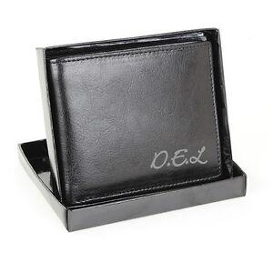 Personalised Black Leather Wallet Mens Anniversary Gents Personalised Free