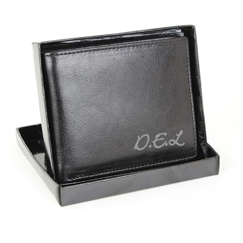 Personalised Black Leather Wallet Anniversary Personalised Free Mens Gents