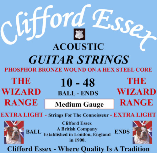 ACOUSTIC GUITAR STRINGS 10-48. CLIFFORD ESSEX PHOSPHOR BRONZE BALL-ENDS
