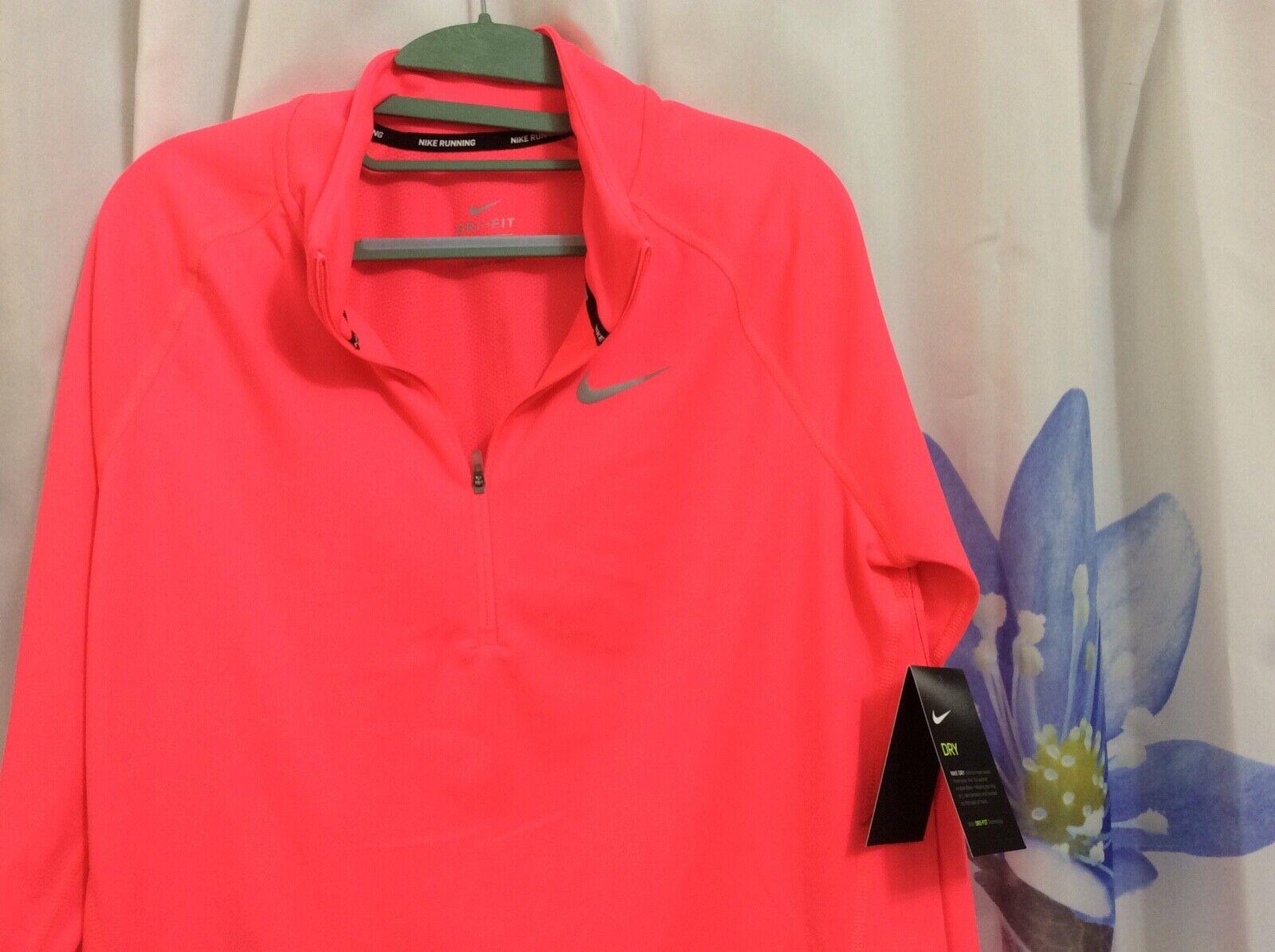 NWT NIKE Dri-FIT Women's Stay warm Running Shirt   bright OrangPink sz L
