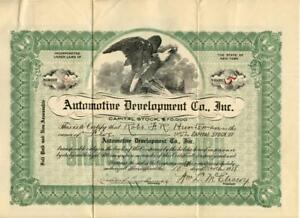 New-York-1918-Automotive-Development-Company-Stock-Certificate-Antique-Cars-2