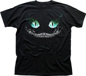 CHESHIRE-Cat-blue-Alice-in-Wonderland-All-Mad-here-Hatter-printed-t-shirt-9370