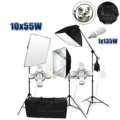 Photo Studio Continuous Softbox Lighting Boom Video Soft Box Light Stand Kit AU