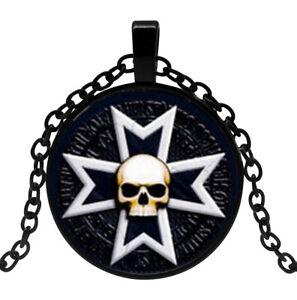 Collier-Pendentif-Symbole-Croix-templier-tete-de-Mort