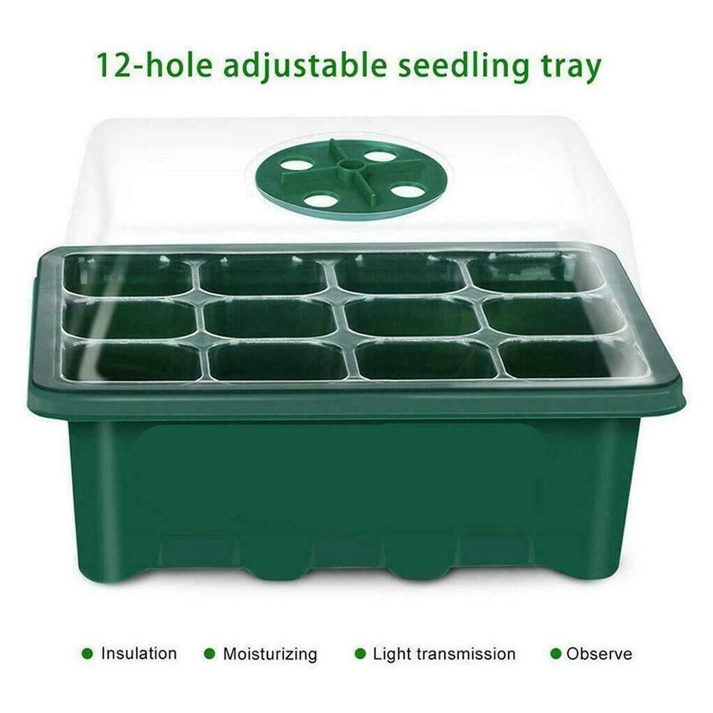 12 Hole Seedling Tray Seed Starter Tray Greenhouse Grow Trays Humidity Plant