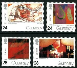 GUERNSEY-1993-EUROPA-CONTEMPORARY-ART-SET-OF-ALL-4-COMMEMORATIVE-STAMPS-MNH