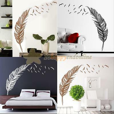 Birds Flying Feather Removable Home Vinyl Wall Sticker Decal Mural DIY Art Decor