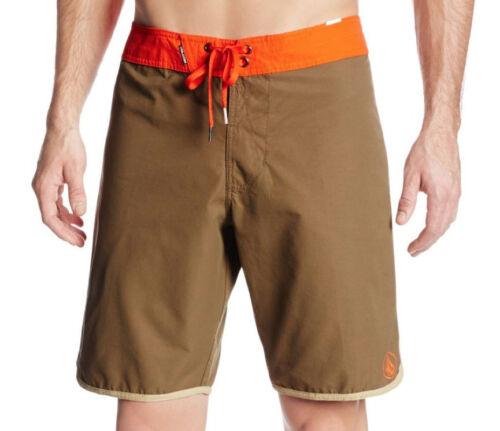"VOLCOM SOLID SCALLOP BOARDSHORT 20/"" Surf Swim Trunks Brown NWT//NEW Mens $55"