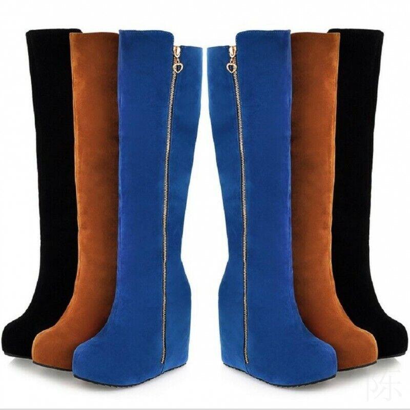 Damen Rund Versteckter Keilabsatz Faux-Wildleder Reißverschluss Kniehoch Stiefel