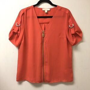 Michael-Kors-Size-M-Women-039-s-Pink-Zip-Front-Short-Sleeve-Blouse-NWOT