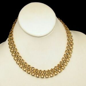 Wide-Chunky-Necklace-Gold-Plated-Chain-Unique-Hourglass-Links-Vintage