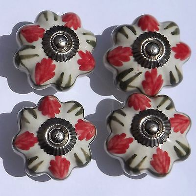 brass fittings 8 x White flower with blue and orange petals ceramic knobs