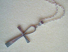 Large Egyptian Ankh Crux Ansata Cross Silver Plated Long Chain Necklace ~ 24""