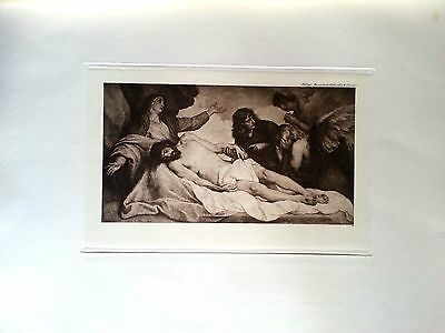 engraving after painting engraved  by Meisenbach La Pieta fine detail
