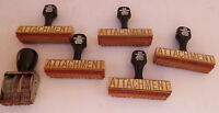 """ATTACHMENT""  WOOD MOUNTED vintage rubber stamp office business postal package"