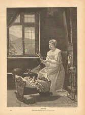 Mother & Child, Infant, Spinning Wheel, Mandolin, 1889 German Antique Art Print