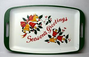 Vintage Seasons Greetings Melamine Serving Tray Christmas Holiday Bell Holly MCM
