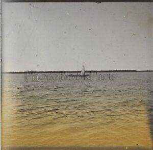 Afrique-bateau-Photo-Q44-Plaque-Verre-Stereo-Positive-Vintage-ca-1920